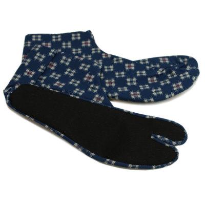足袋 メンズ 柄 紺地に絣 日本製 (6490)