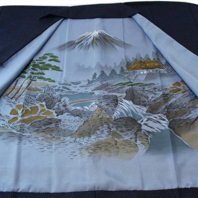 男着物と羽織の2点セット ウール混 額裏付 (6291)