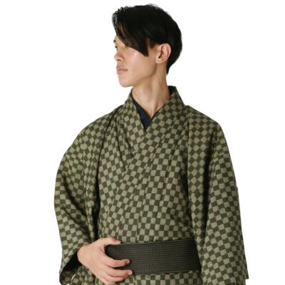 男着物 洗える着物 東レシルック 小紋 単衣 市松L(深緑×ベージュ) (5042)