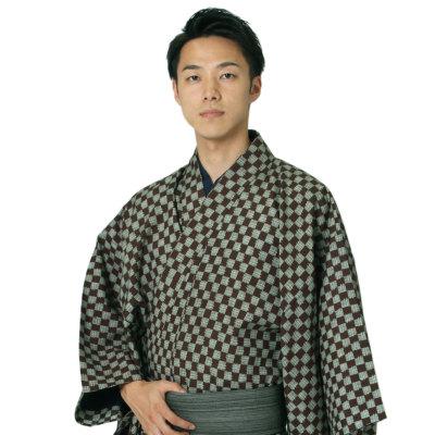 男着物 洗える着物 東レシルック 小紋 単衣 市松L(茶×淡緑) (5043)