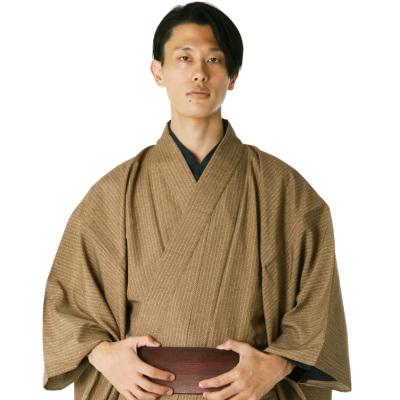 男着物 洗える着物 東レシルック 小紋 単衣 からし矢羽縞L (5046)