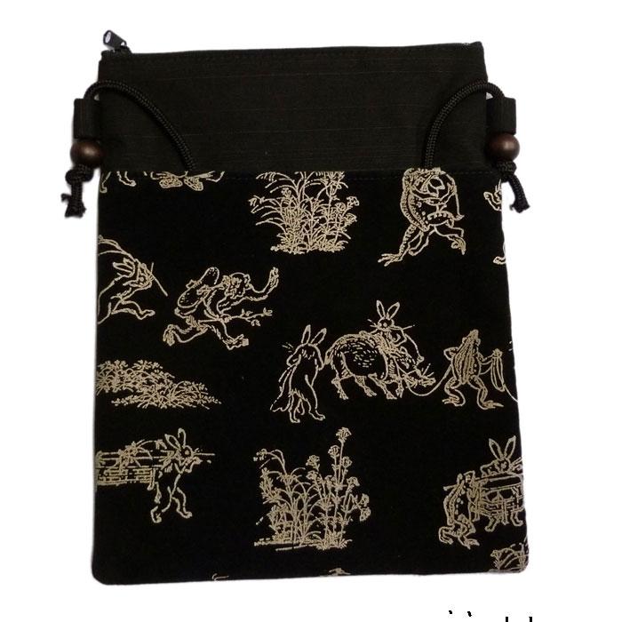 鳥獣戯画和服 信玄袋 ショルダーバッグ