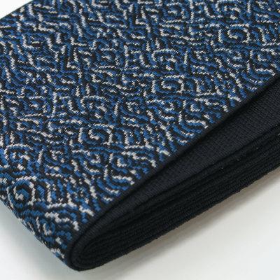 角帯 正絹 博多織物 黒青 (7007)