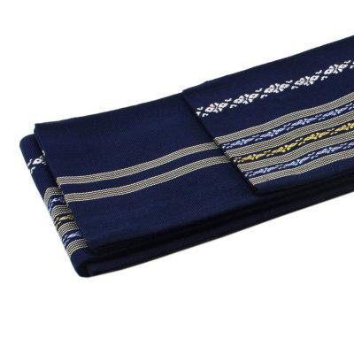 角帯 正絹 博多織物 濃紺 献上柄 (7022)