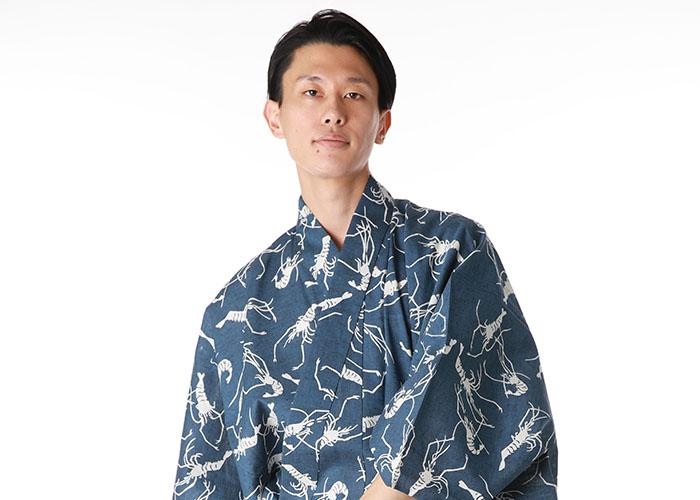 長寿を意味する「海老」柄の浴衣