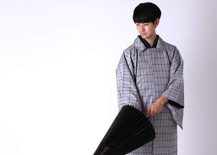 男着物の雨コート