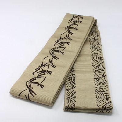 角帯 正絹 博多織物 原田織物 ベージュトンボ (7187)