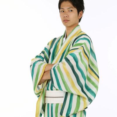 男着物 洗える着物 小紋 単衣 夏塩沢風 グリーン縞 (6178)