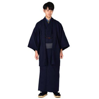 男着物と羽織の2点セット ウール混 無地 (6835)