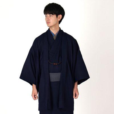 男着物と羽織の2点セット ウール混 無地 大きいサイズ(6836)