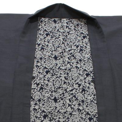 男羽織 洗える 袷 紬無地 濃グレー エスニック(7310)