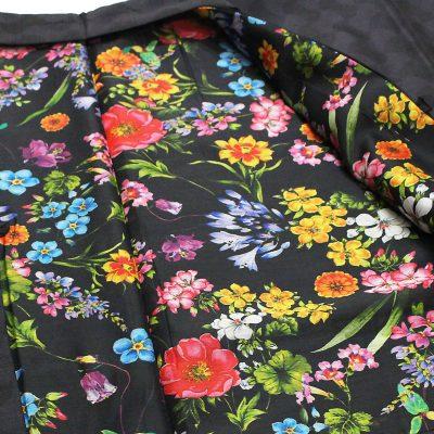 男羽織 洗える 袷 紬無地 黒 花柄(7312)