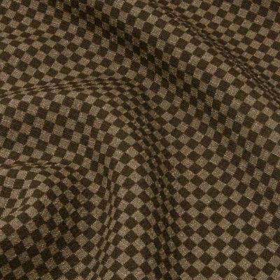 男着物 洗える着物 東レシルジェリー 格子 茶(7298)