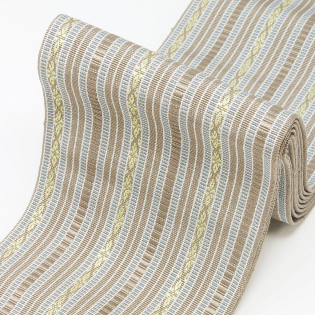 角帯 正絹 博多織物 淡ベージュ(7327)
