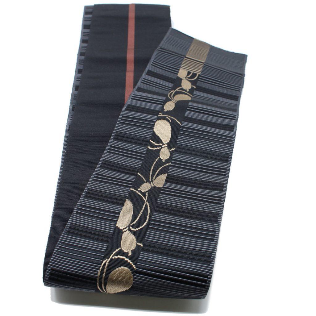 角帯 正絹 博多織物 原田織物 黒瓢箪(7350)
