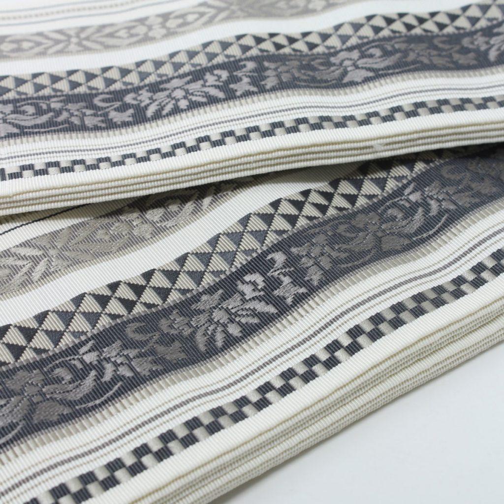 角帯 正絹 博多織物 原田織物 オフ白(7351)