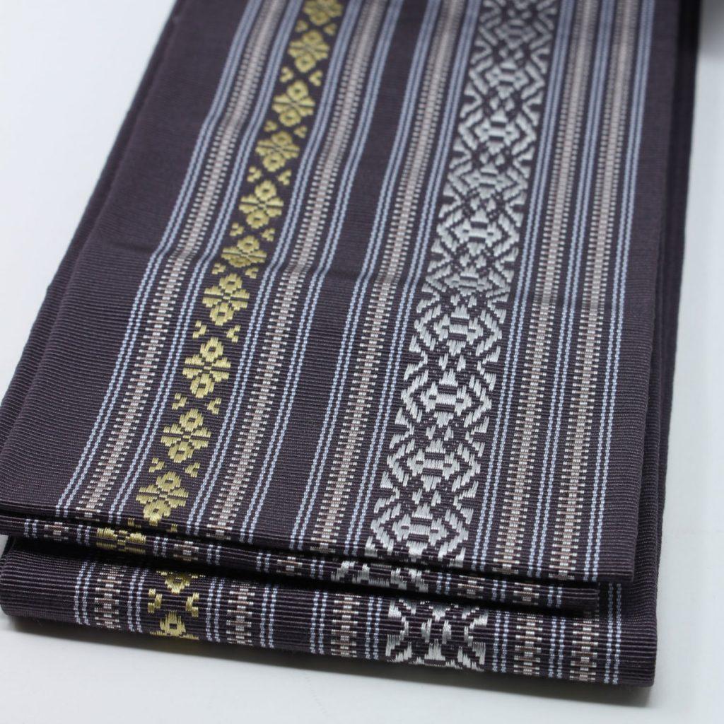 角帯 正絹 博多織物 渋紫(7355)