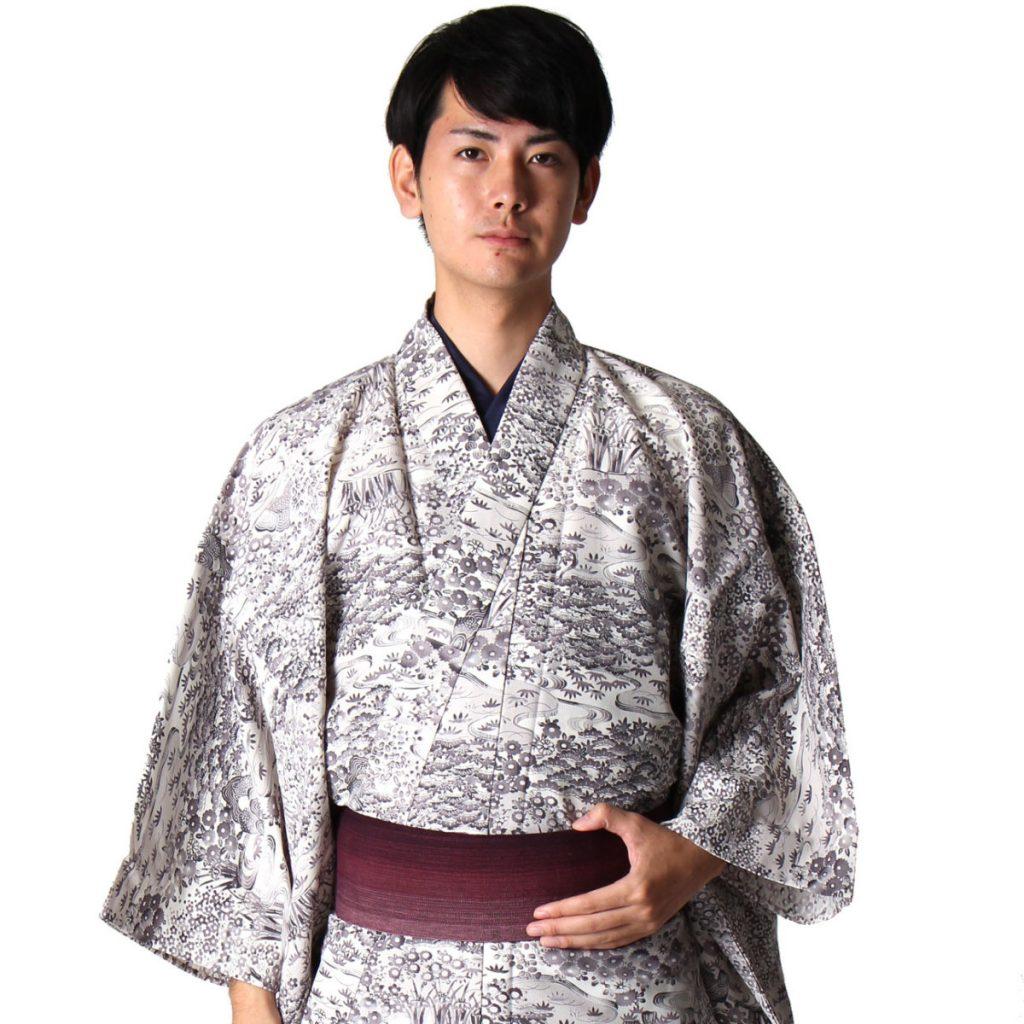 男着物 洗える着物 小紋 単衣 グレー花模様 (6167)