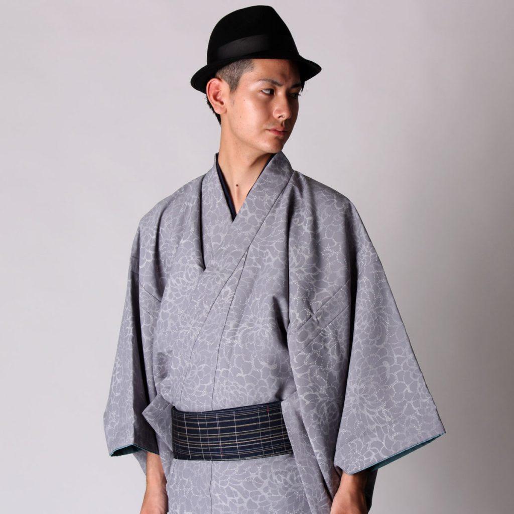 男着物 洗える着物 小紋 単衣 グレー菊 (6668)