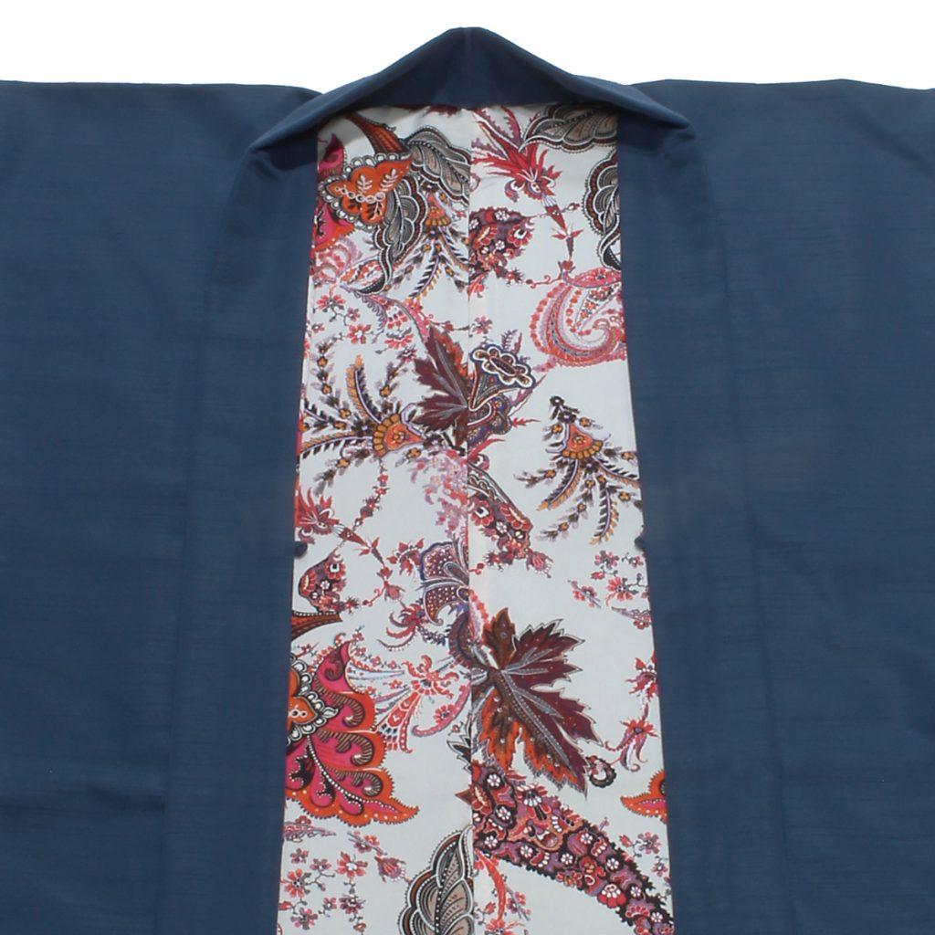 男羽織 洗える 袷 紬無地 紺 ペイズリー(7311)