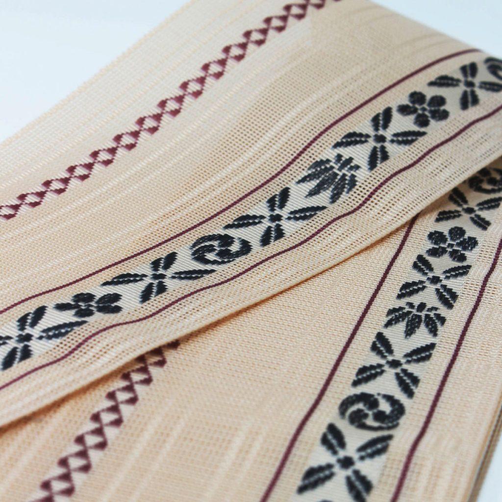 角帯 正絹 博多織物 夏帯 紗 羅 ベージュ(7154)