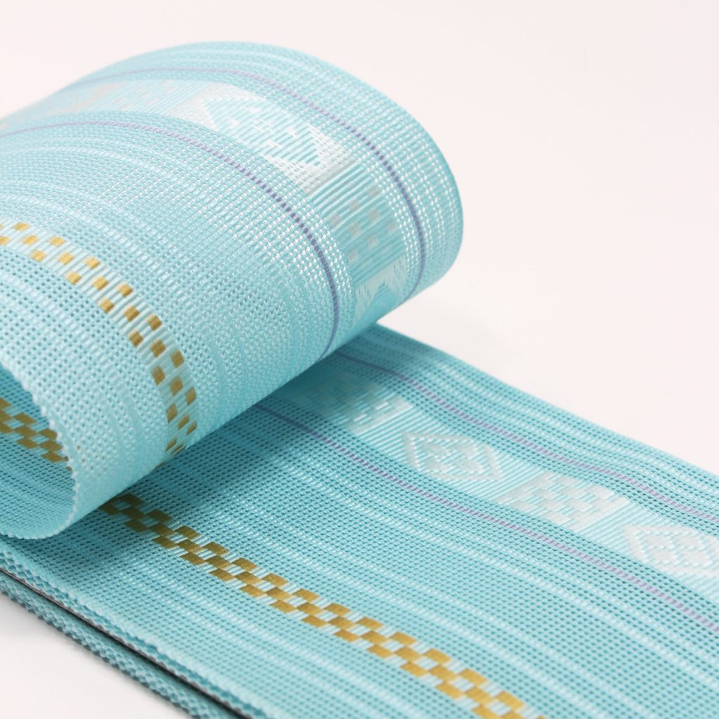 角帯 正絹 博多織物 夏帯 紗 羅 ブルー (7155)