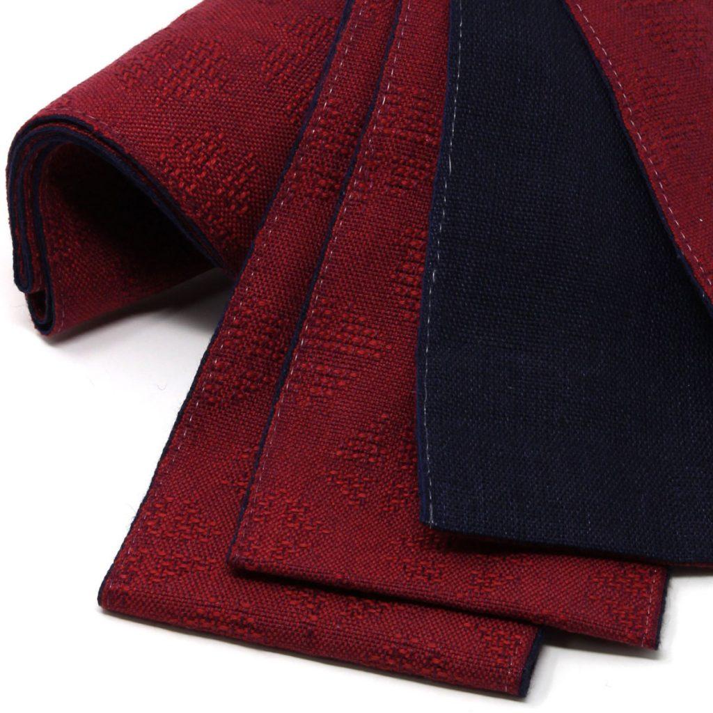 角帯 麻 赤帯 濃紺(7417)