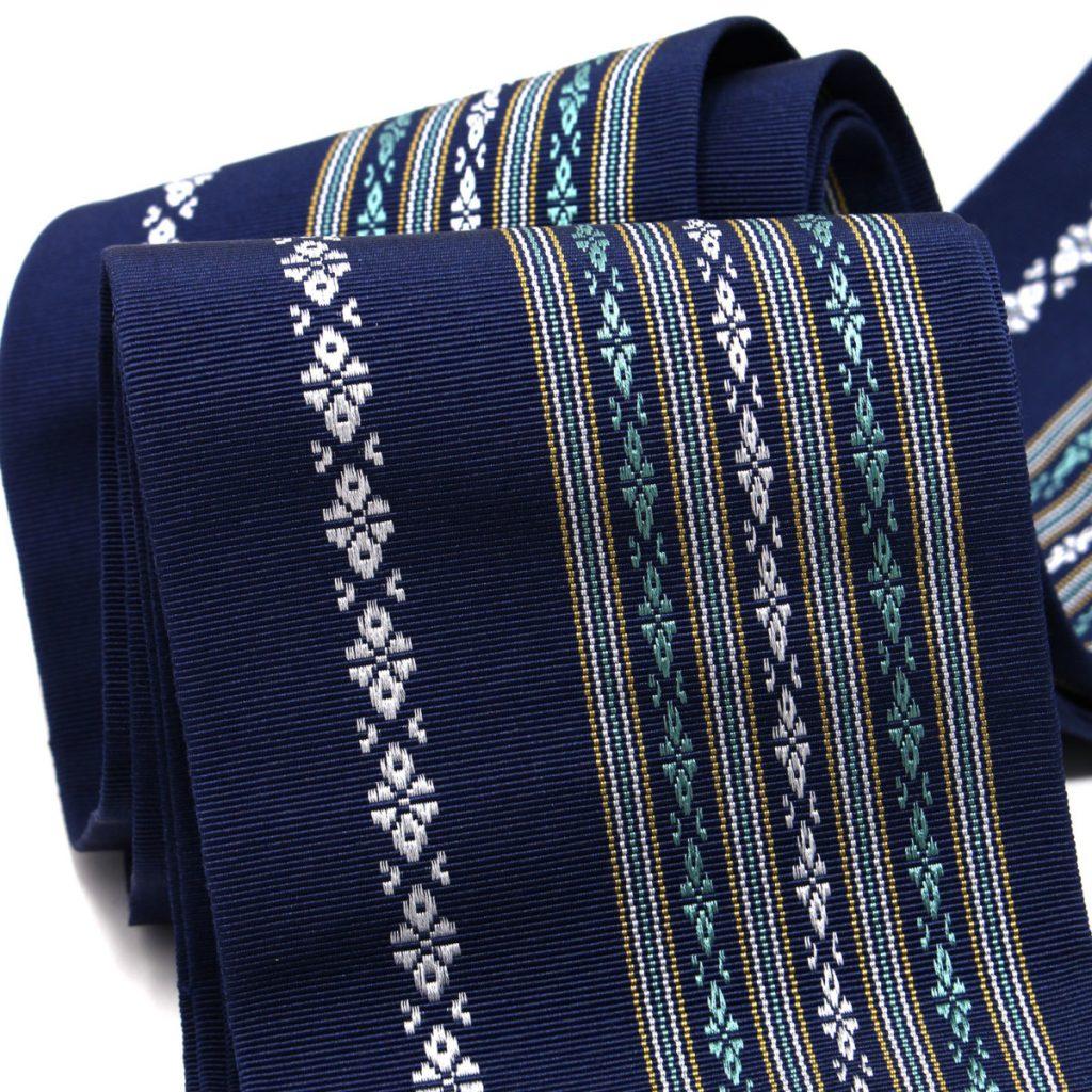 角帯 正絹 博多織物 青 (7429)