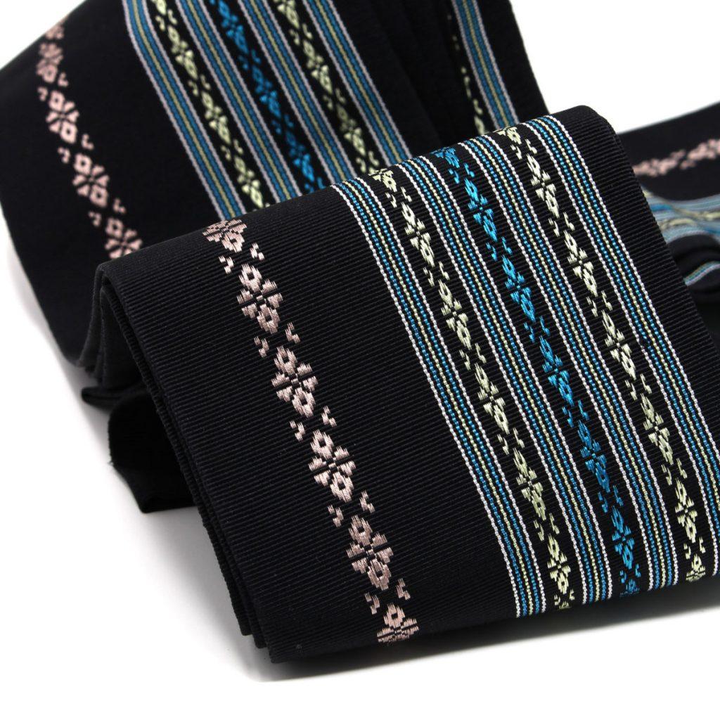 角帯 正絹 博多織物 黒 (7430)