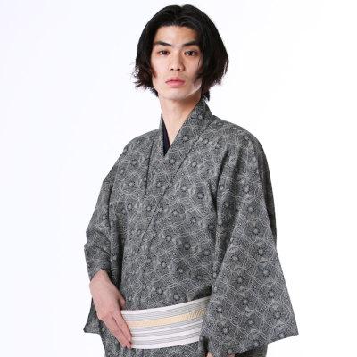 男着物 洗える着物 小紋 単衣 夏塩沢風 黒七宝 (6177)