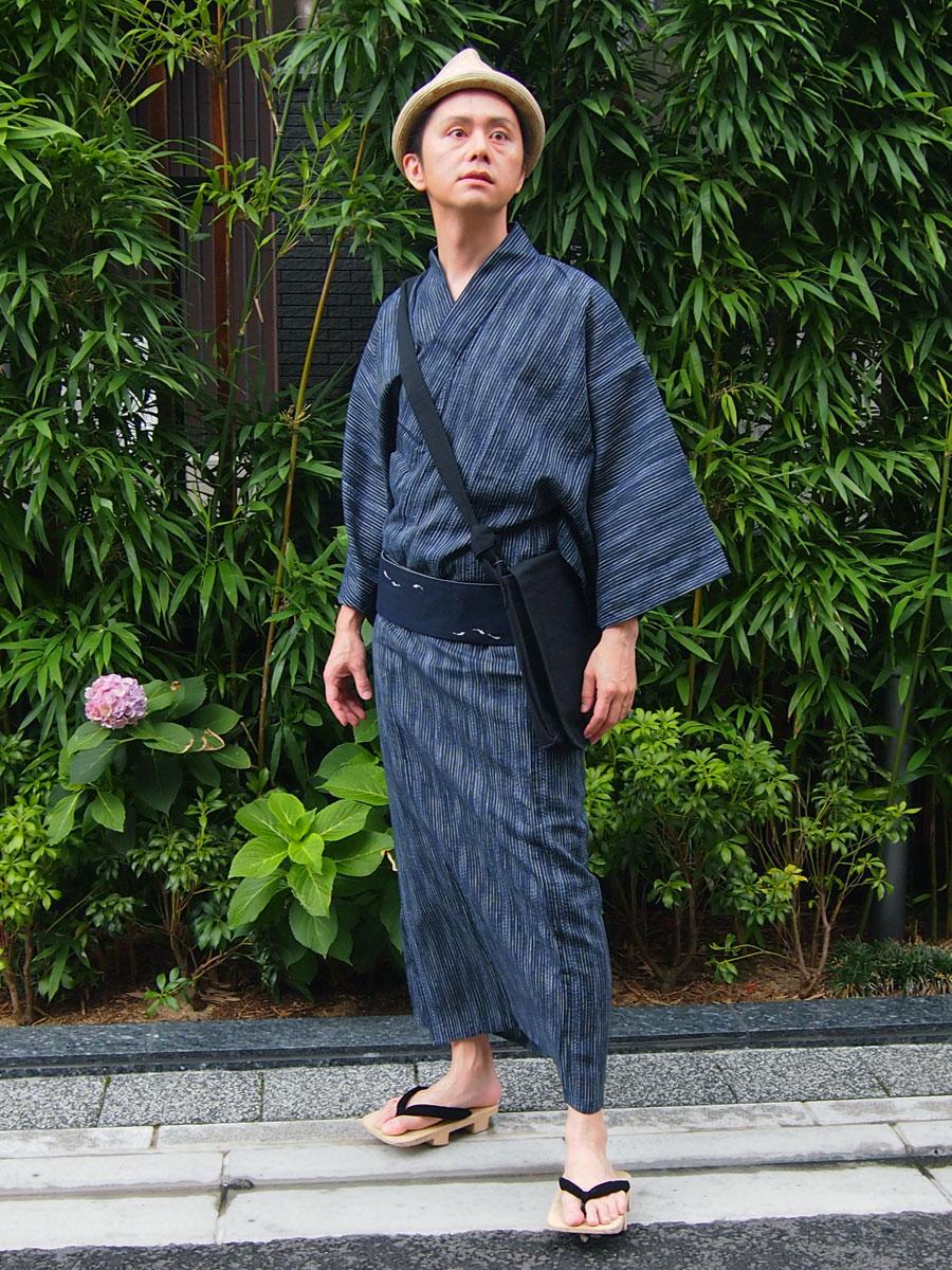 浜松浴衣5点セット(色柄かすれ縞・紺)